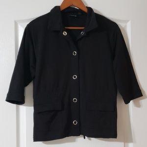 Three-quarter Sleeve Snap Button Drawstring Jacket